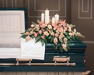 Pretty Peach Casket Spray from Hafner Florist in Sylvania, OH