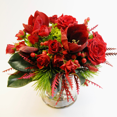 Red Roses and Amaryllis