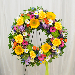 Vibrant Wreath from Hafner Florist in Sylvania, OH